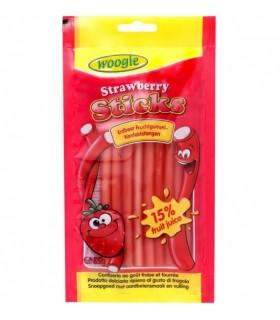 Maasikamaitselised kummikommipulgad täidisega 85g Woogie